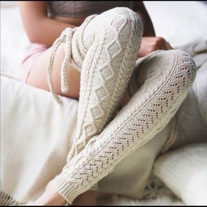 Free people crochet wrap leg warmers